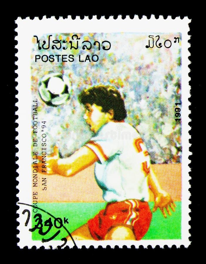 Spelers in actie, Wereldbekervoetbal serie, circa 1991 royalty-vrije stock afbeeldingen