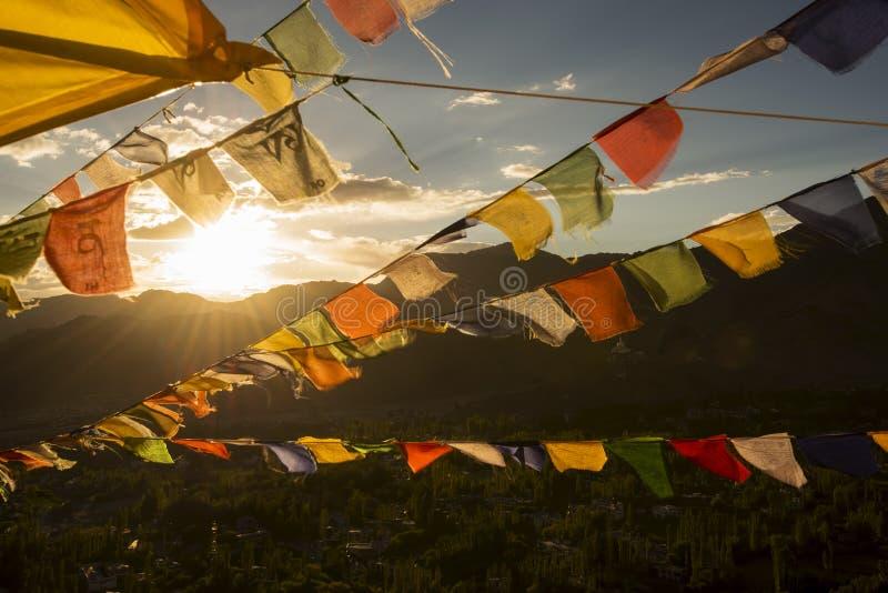 Spelervlag op de bovenkant van het Klooster van Namgyal Tsemo royalty-vrije stock afbeelding