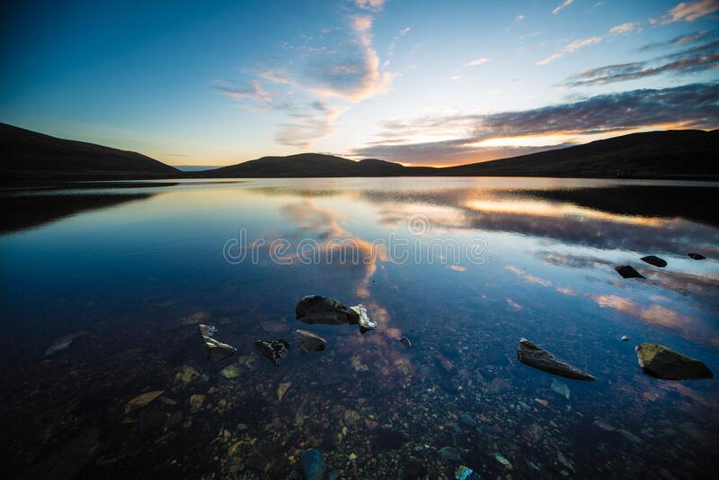 Spelga Dam at twilight  royalty free stock images