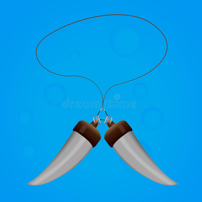 Spell Amulet Two Teeth With Rope Magic Stock Images