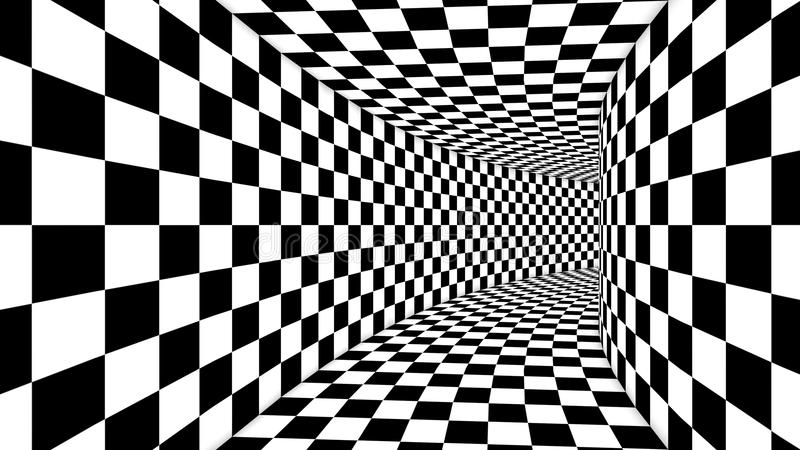 Optical Square Black and White Illusion. A spell binding 3d illustration of an optical illusion formed by black and white squares making a huge cubic tunnel from vector illustration