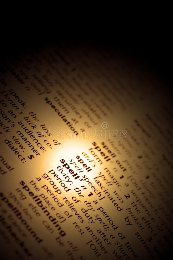 Download Spell in dictionary stock image. Image of words, cover - 29407343