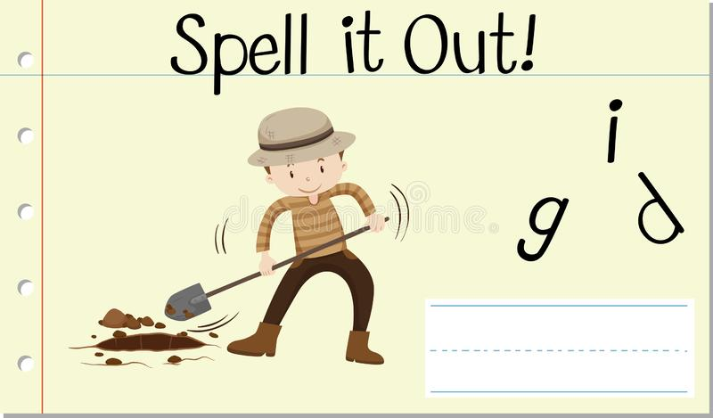 Spell it out dig. Illustration stock illustration