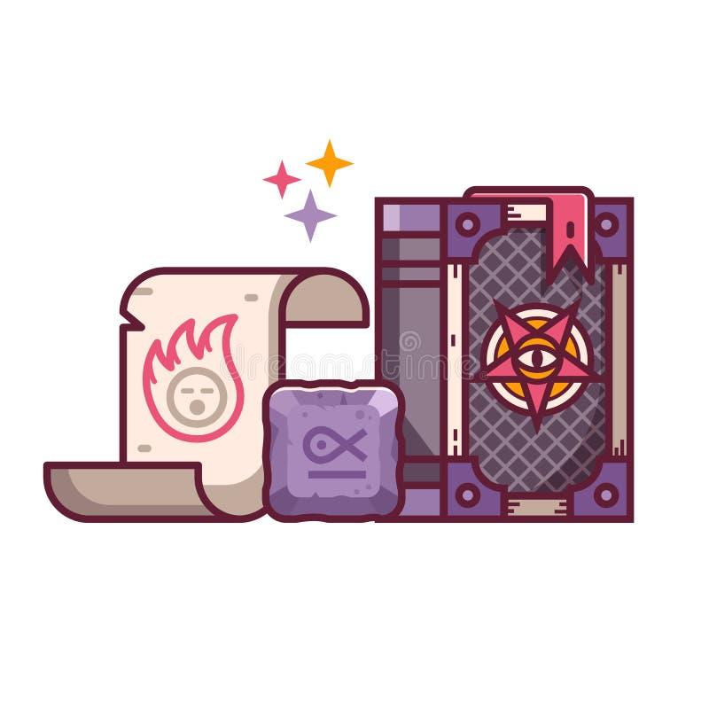 Spellbookrol en Rune Fantasy Icons vector illustratie