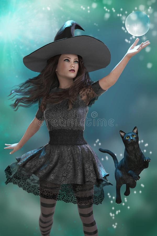 Spellcasting Witch with her Black Cat. Image of a young witch casting a spell. Her black cat familiar is rising into the air alongside her stock illustration
