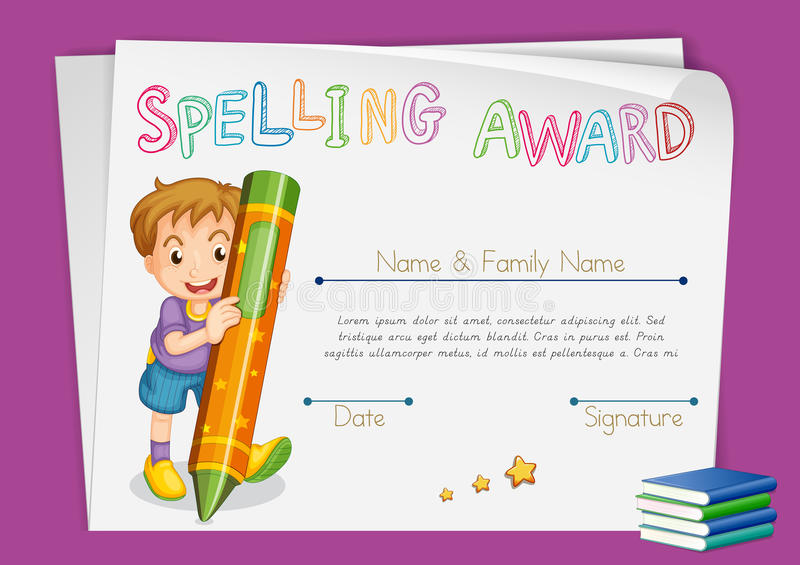 Spelling award certificate template with kids and crayon. Illustration stock illustration
