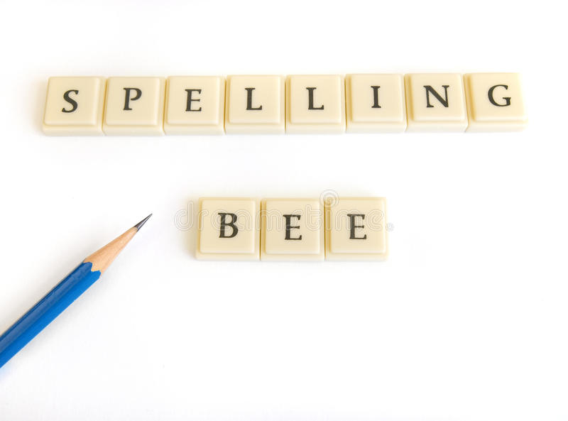 Spelling Bee. A photograph image of the words Spelling Bee, spelt out with light colored letter blocks. Game is popular with young kids in elementary schools stock photo