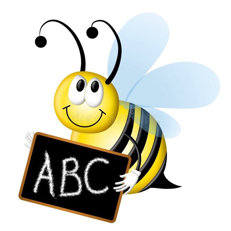 Spelling Bee With ABC Chalkboard. An illustration featuring a bumblebee spelling bee with chalkboard and ABC vector illustration
