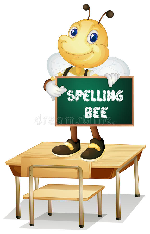 Spelling bee. Illustration of a bee holding a spelling bee sign vector illustration