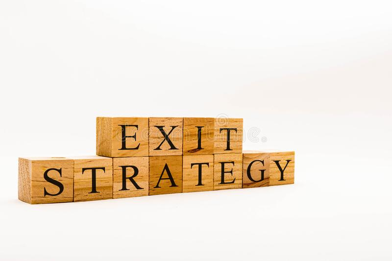 Spelling Exit Strategy royalty free stock photo