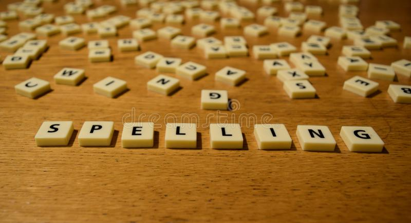 Spelling letters stock photo