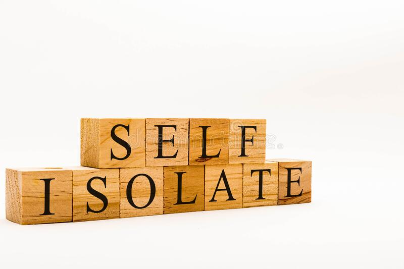 Spelling Self Isolate stock photography