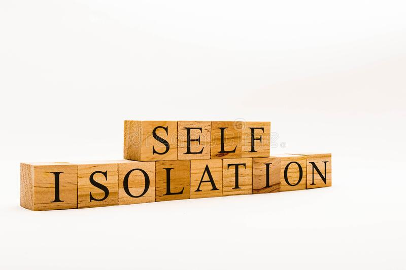 Spelling Self Isolation stock images