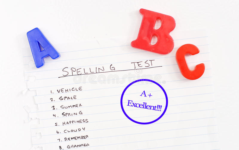 Spelling Test Results. With ABC Magnets royalty free stock photo