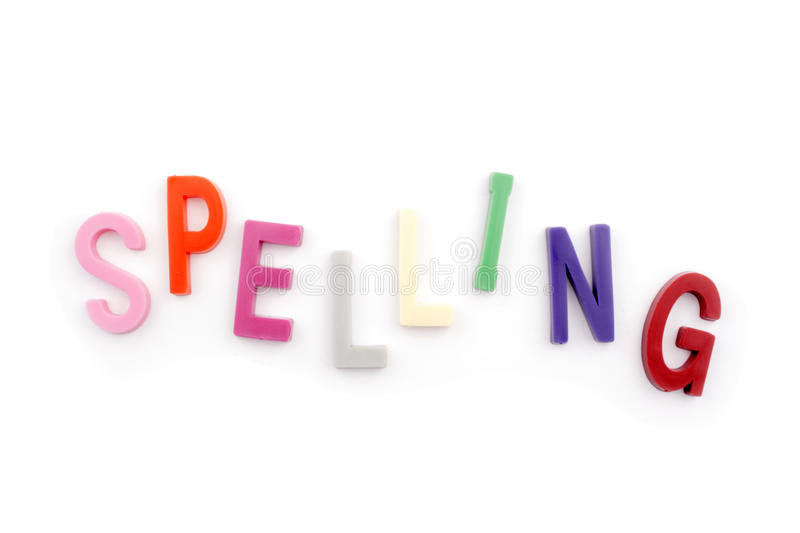 Spelling text. Photo of Spelling text on white background royalty free stock photos