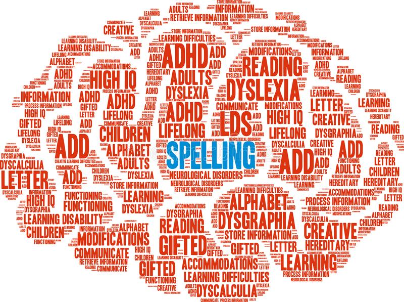 Spelling Word Cloud. On a white background royalty free illustration