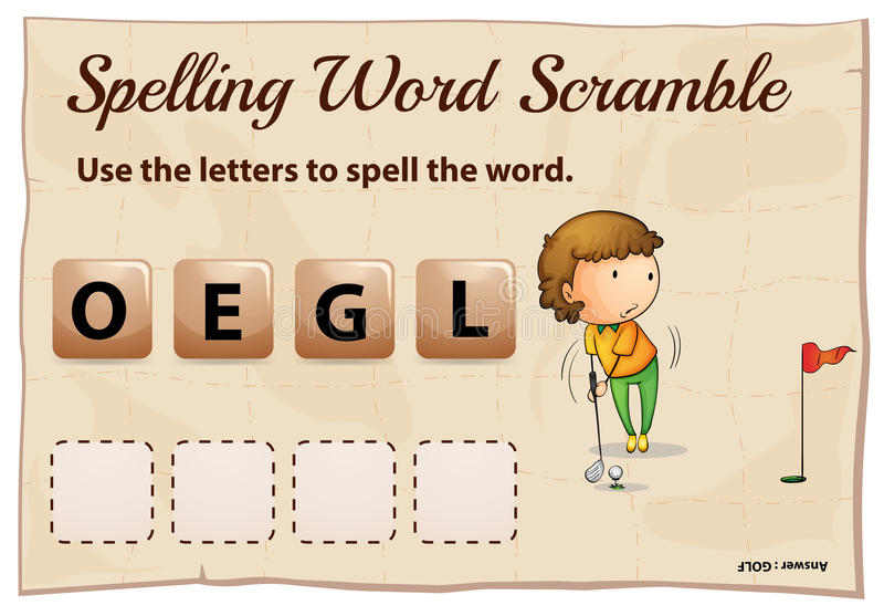 Spelling word scramble template with word golf vector illustration