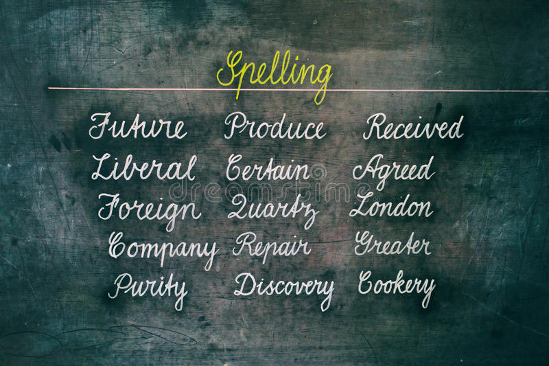 Spelling words on chalk board. Spelling words on an antique chalkboard vector illustration