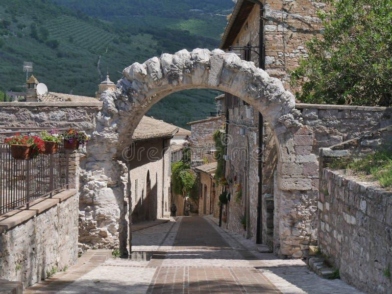 Spello - Roman Arch St e Belvedere fotografia de stock royalty free