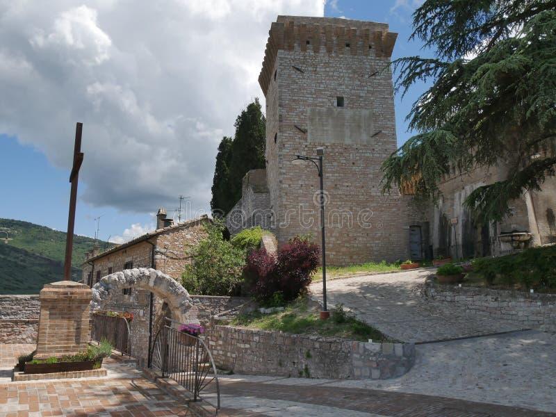 Spello - Roman Arch St e Belvedere fotos de stock