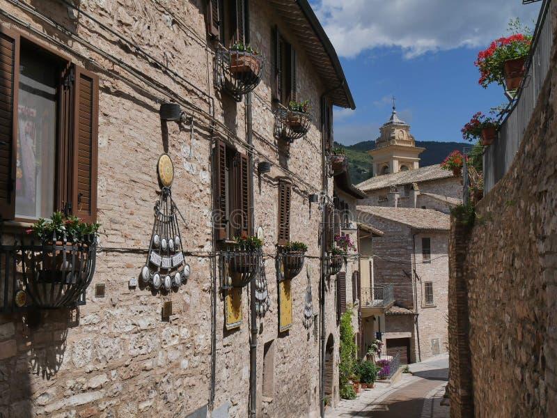 Spello - Roman Arch St e Belvedere foto de stock royalty free