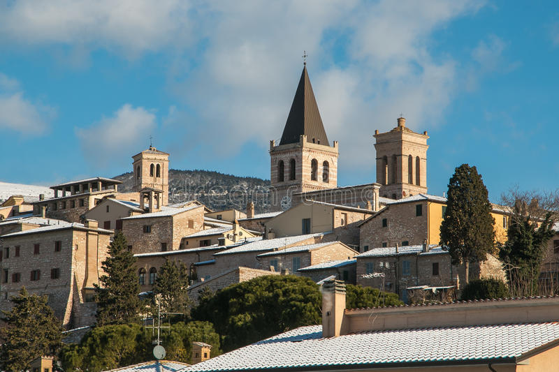 Download Spello with snow in Umbria stock photo. Image of architecture - 83718332