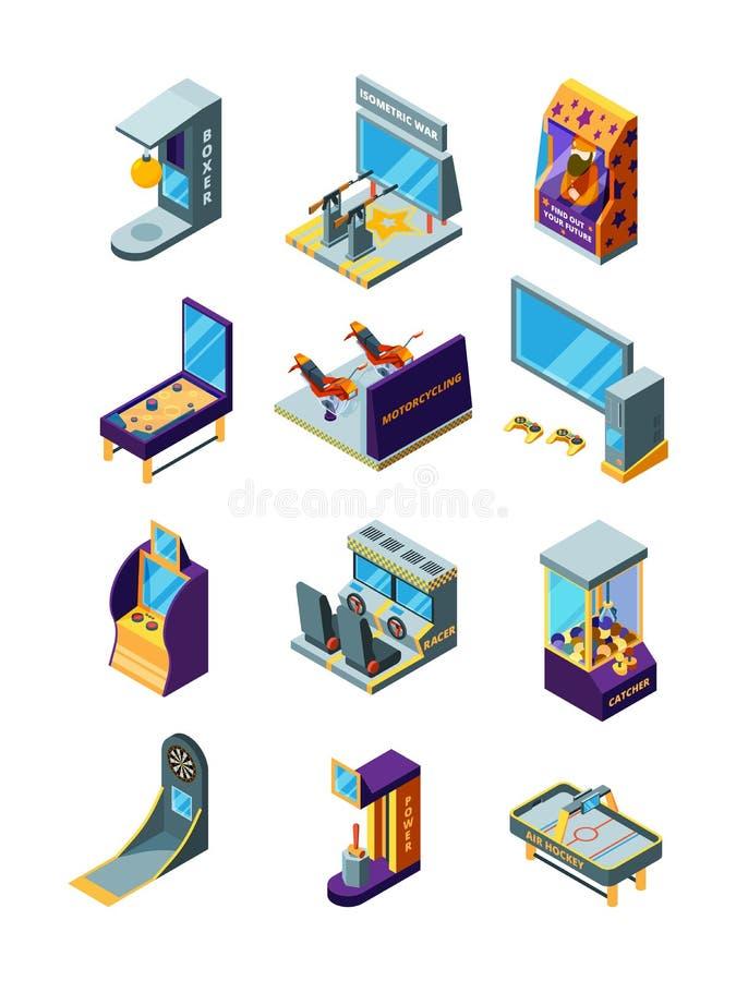 Spelmachines De rassimulator werpt arcade grappige spelen voor het pretpark vector isometrische machines van het jonge geitjesfli vector illustratie