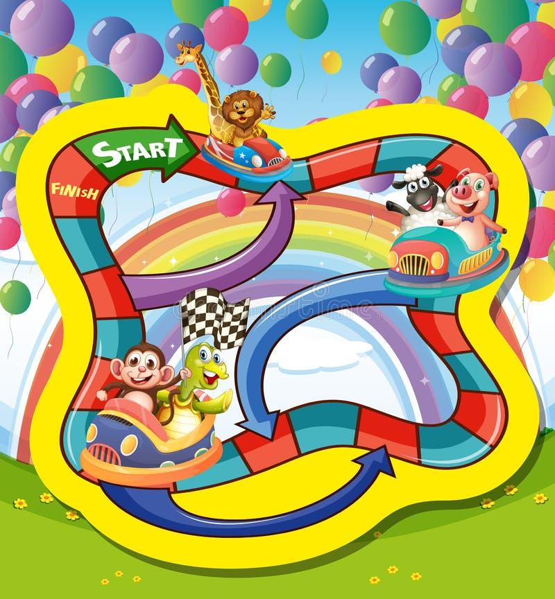Spelmalplaatje met dieren in raceauto vector illustratie