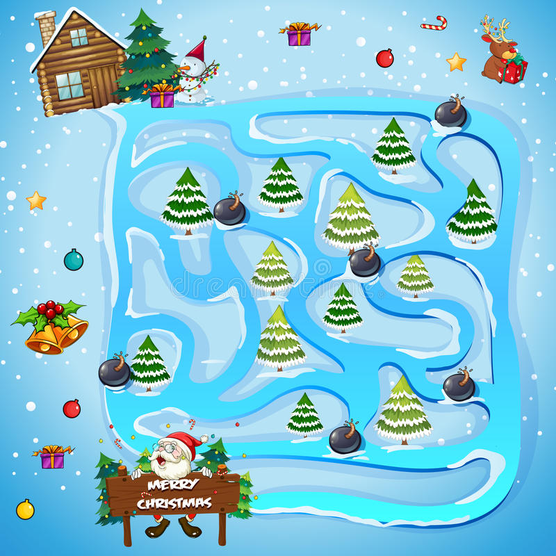 Spelmalplaatje met Kerstmisbomen royalty-vrije illustratie