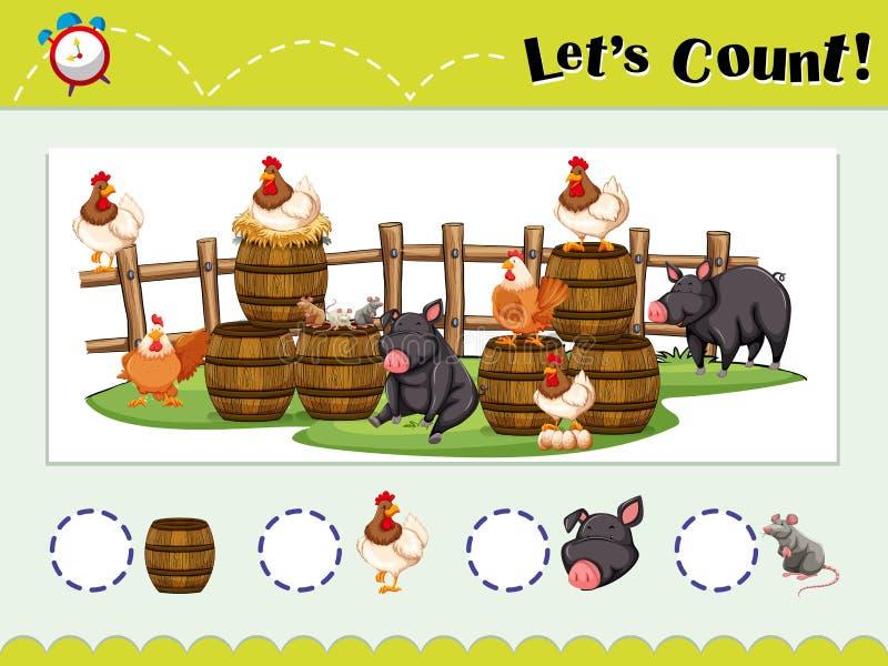 Spelmalplaatje voor het tellen van dieren stock illustratie