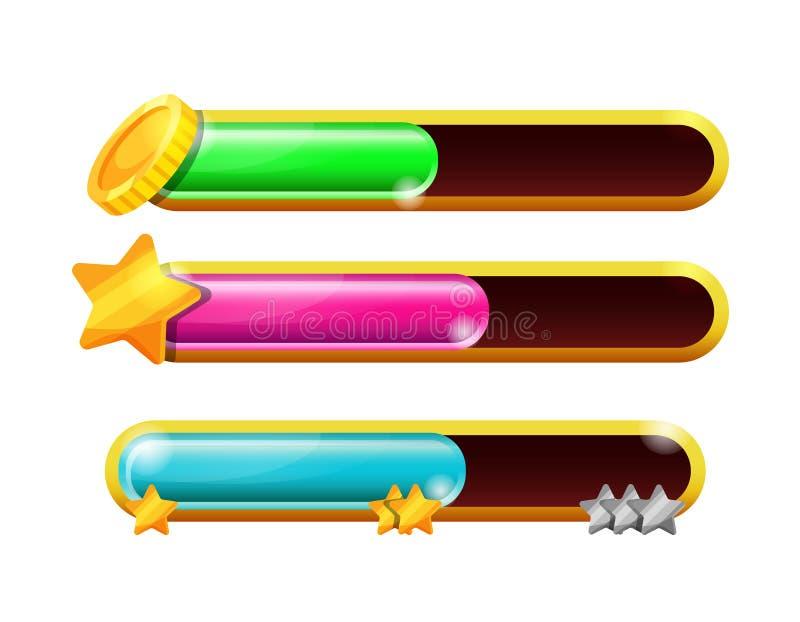 Spelpaneel, schaal met bonussen, gezondheidsindicatoren, geldmuntstukken stock illustratie