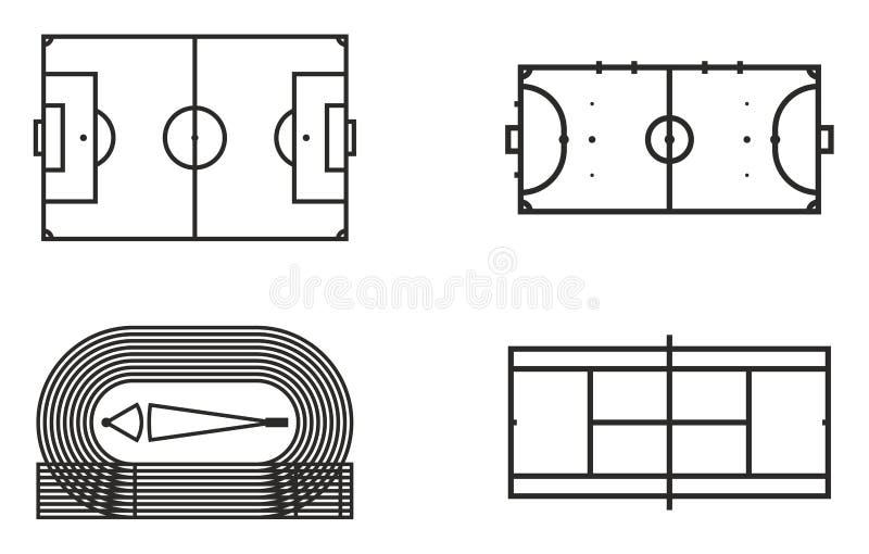 Spelplansymbolsuppsättning 6 stock illustrationer