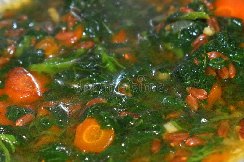 Spelt soup with carrot and nettle stock photography