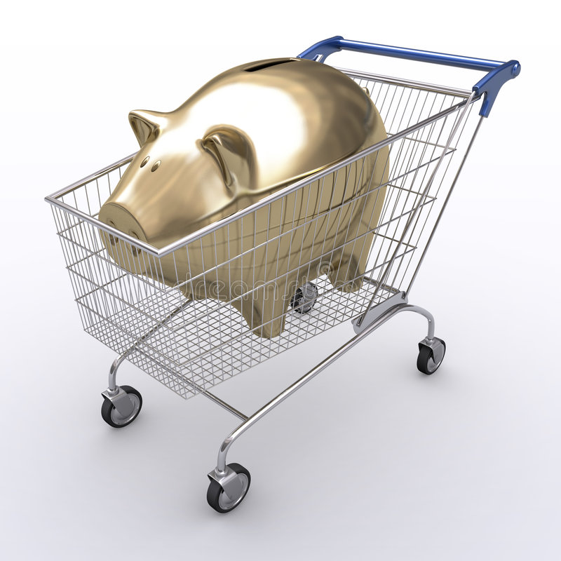 Spend Economy. Shopping cart with golden piggy inside. Concept of spend money vector illustration