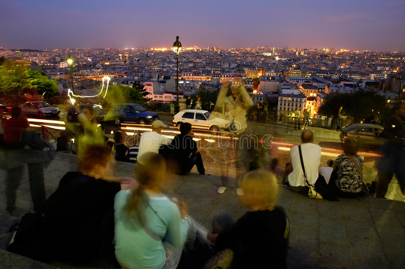 Spend night in Paris - panoramics royalty free stock photography