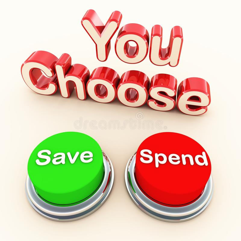 Spend or save choice. Your choice to spend or save, income and expediture concept, savings and spending buttons in green and red colors on white surface royalty free illustration