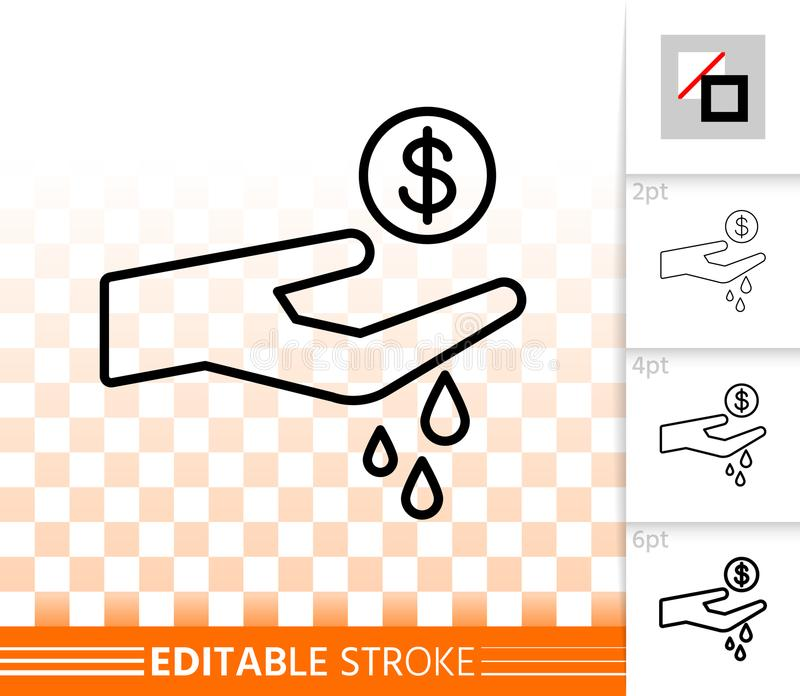 Spend simple black line vector icon. Spend thin line icon. Outline sign of hand with coin. Money like Water linear pictogram with different stroke width royalty free illustration