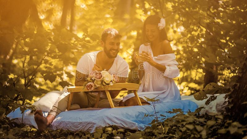 Spend their days together in nature stock image