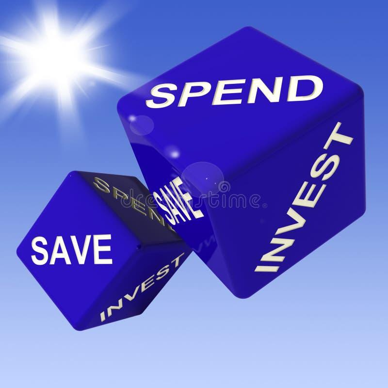 Spenda, conservi, investa i dadi che mostrano la messa in bilancio royalty illustrazione gratis
