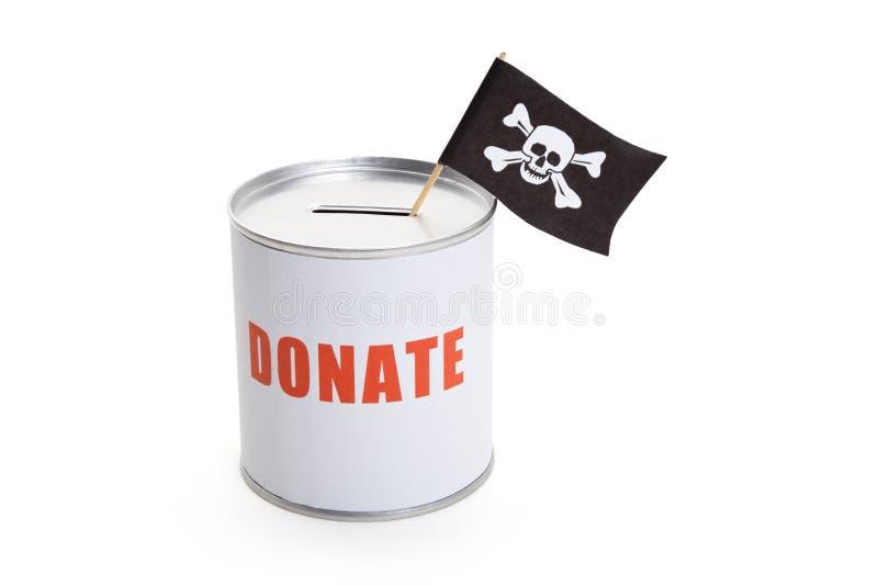 Spenden-Kasten-und Piraten-Flagge lizenzfreies stockbild