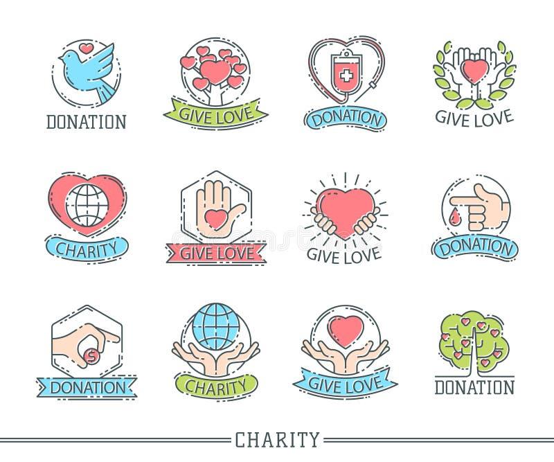Spenden Sie Logoikonenhilfsikonenspendenbeitragnächstenliebephilanthropiesymbolmenschlichkeitsstützvektor des Geldes gesetzten stock abbildung