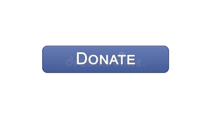 Spenden Sie violette Farbe des Netzschnittstellen-Knopfes, die Sozialunterstützung und online Mittel beschaffen stock abbildung