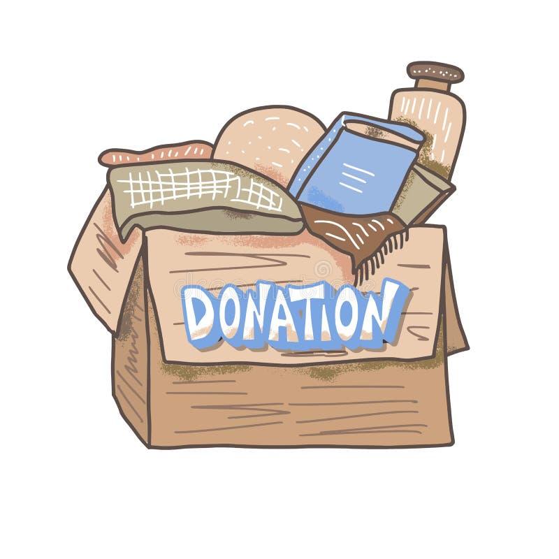 Spendenkonzept Kasten mit Material und Text stock abbildung