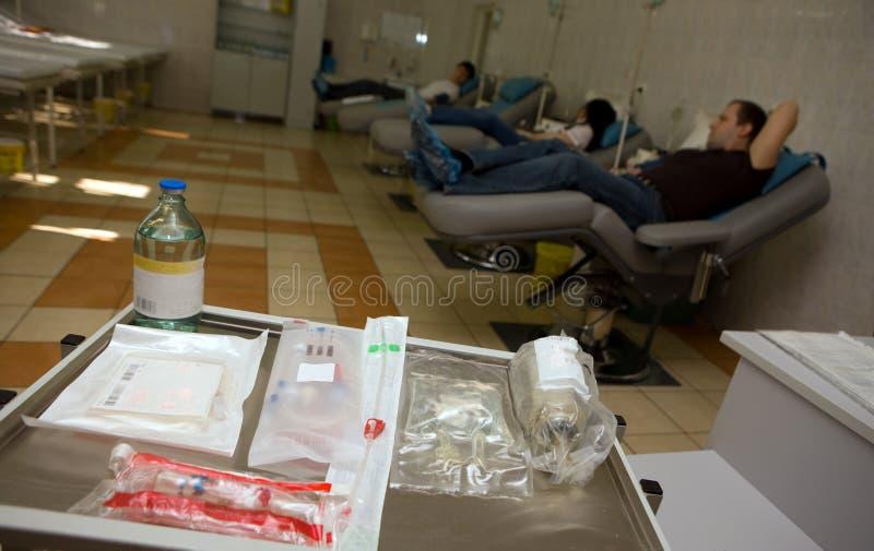 Spender an der Bluttransfusionsstation stockfoto