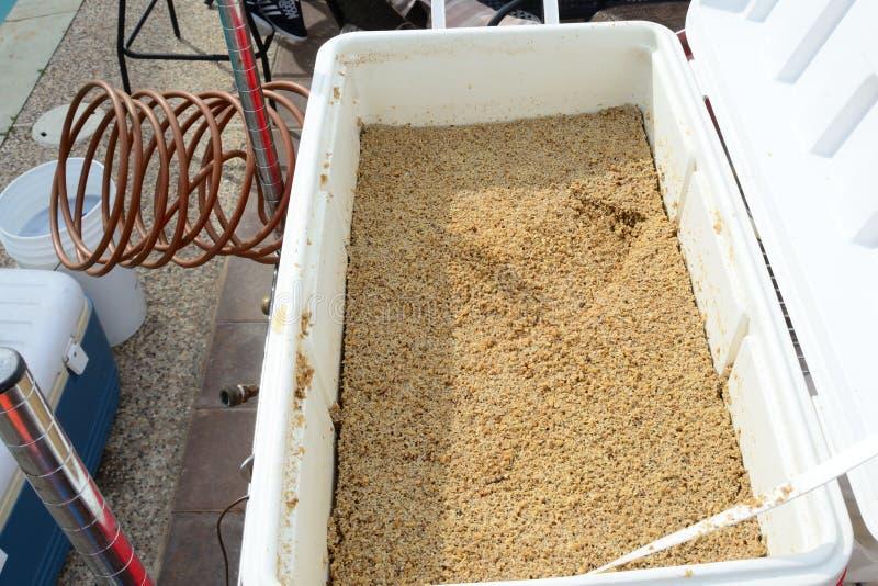Spenderade korn i hem- brygd mosar tunnan arkivbilder