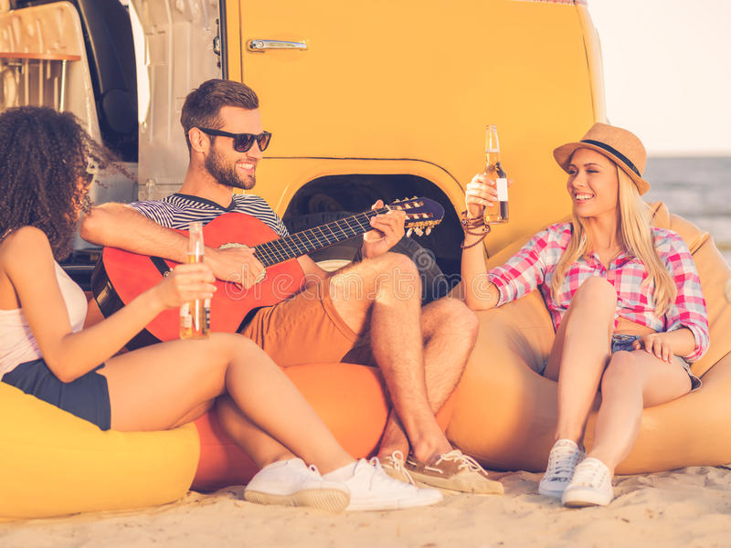 Spending great time with friends. royalty free stock images