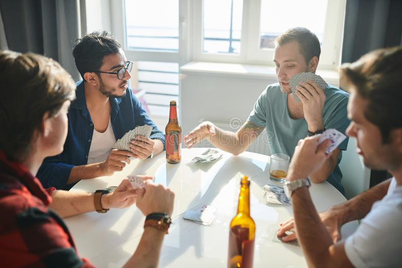 Spending time in playing cards royalty free stock photos