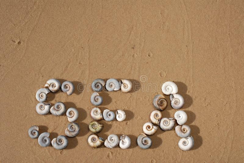 The inscription `Sea` is  written by small sea shells on the yellow sand stock photo