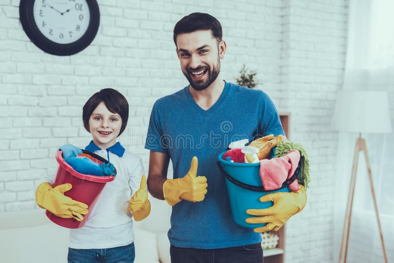 Spends Time. Happy Together. Clean House. Fun. royalty free stock images