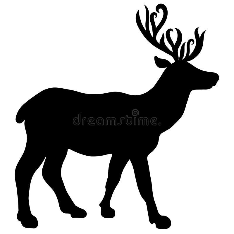 Spensliga unga hjortar med härliga horn, kontur royaltyfri illustrationer